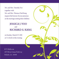 Purple & Lime Wedding Invitations