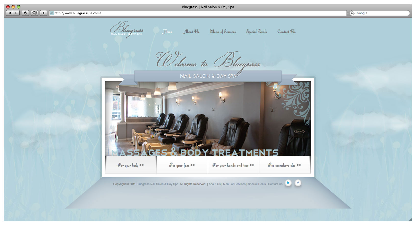 Bluegrass Day Spa & Nail Salon Website - Landing Page