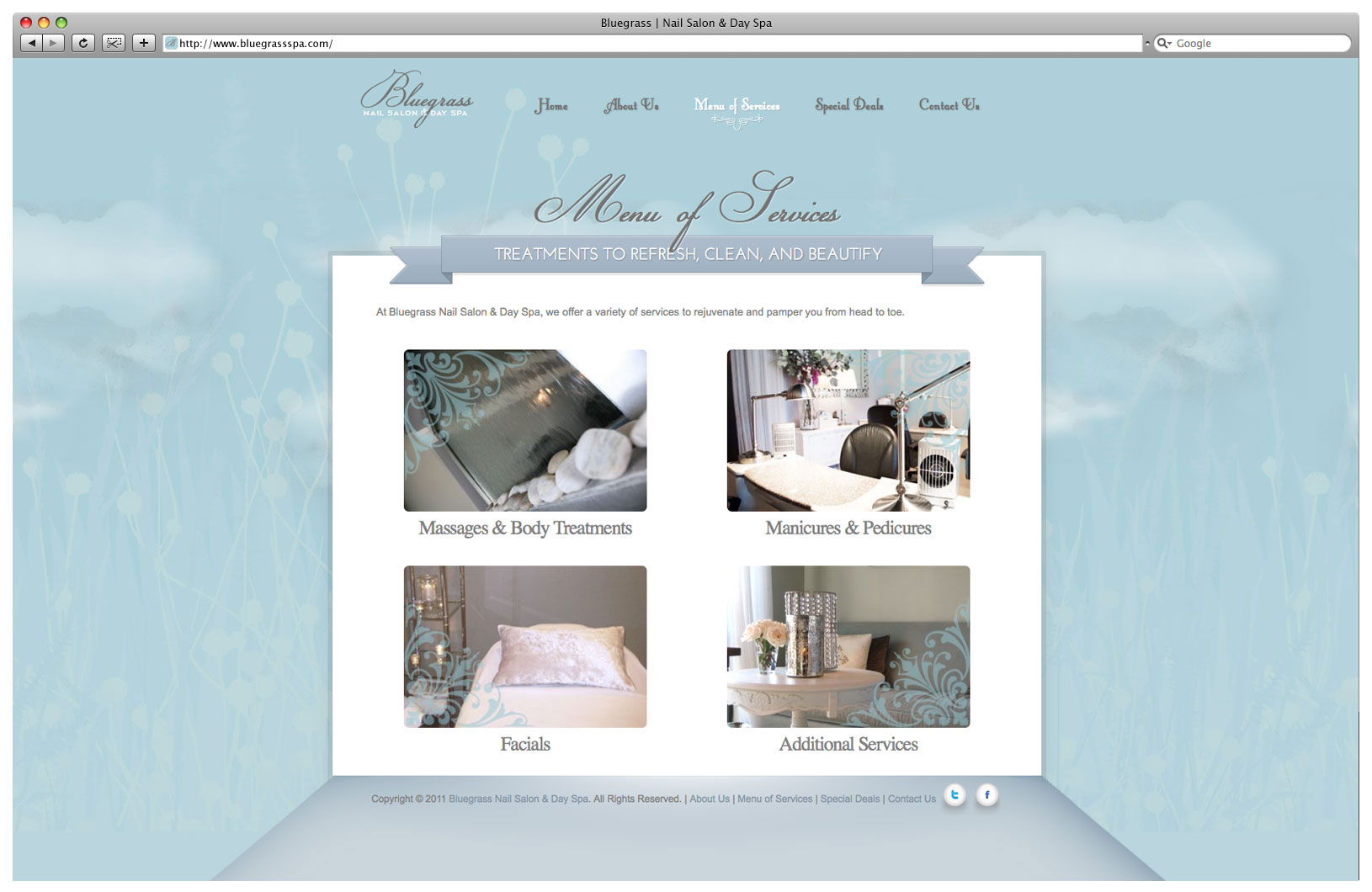Bluegrass Day Spa & Nail Salon Website - Menu of Services