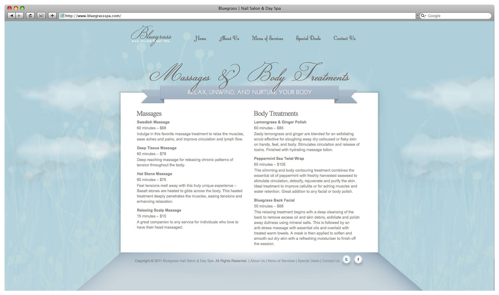 Bluegrass Day Spa & Nail Salon Website - Massages & Body Treatments