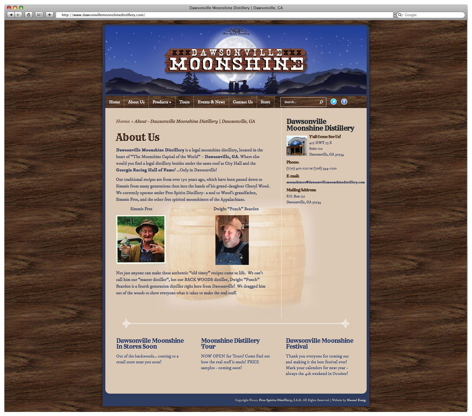 Dawsonville Moonshine Distillery Website – About Page