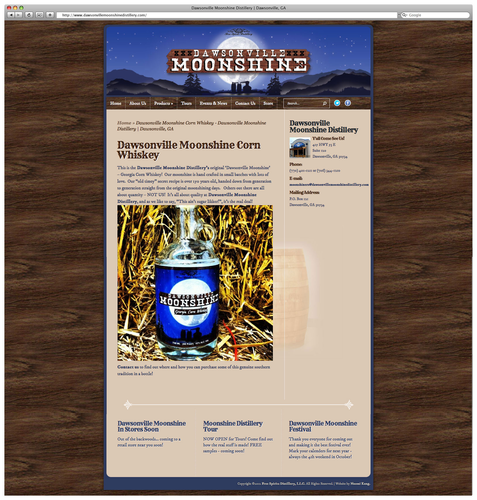 Dawsonville Moonshine Distillery Website – Product Page
