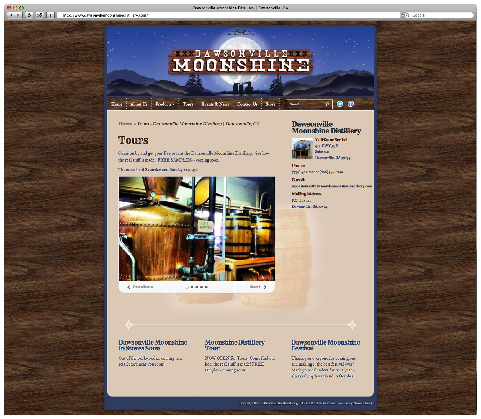 Dawsonville Moonshine Distillery Website – Tours Page
