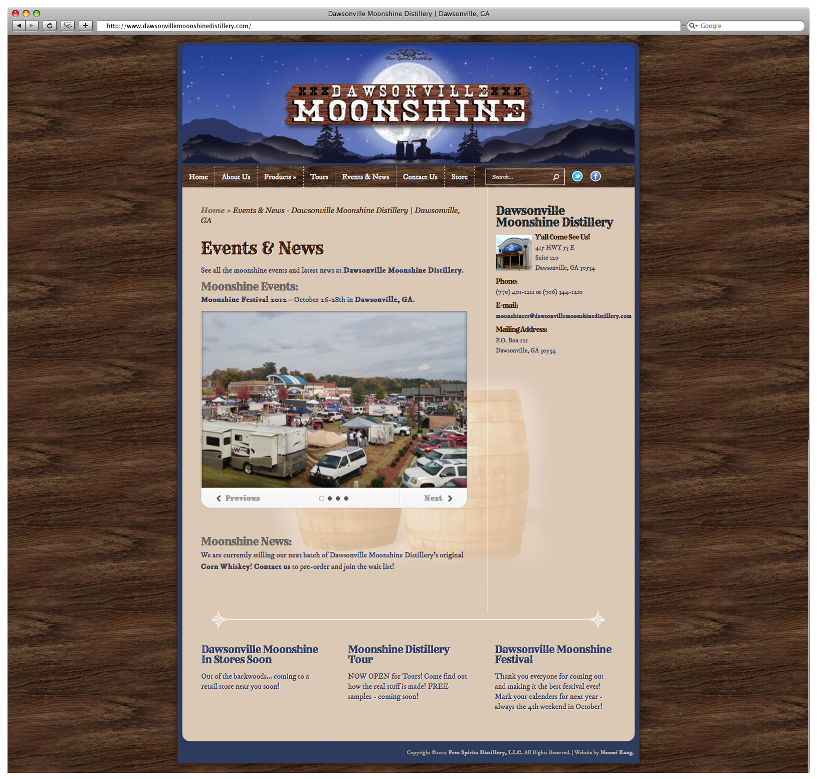 Dawsonville Moonshine Distillery Website – Events & News Page