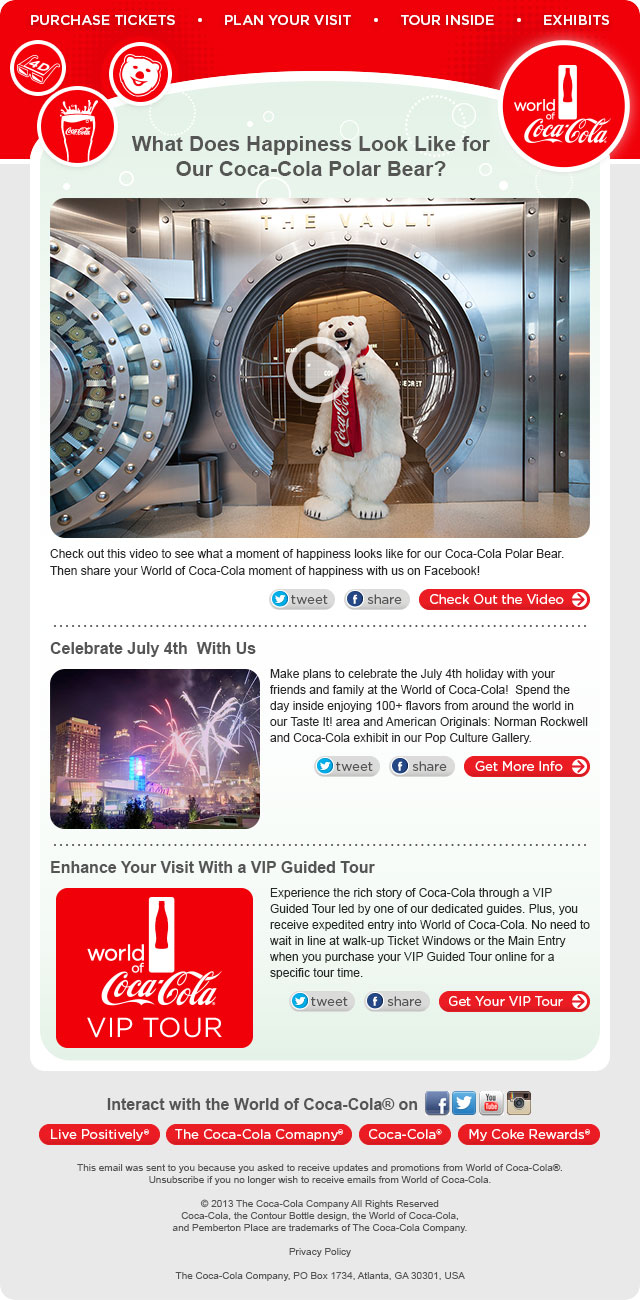 World Of CocaCola ENewsletter Template Naomi Kang - How to make email newsletter templates