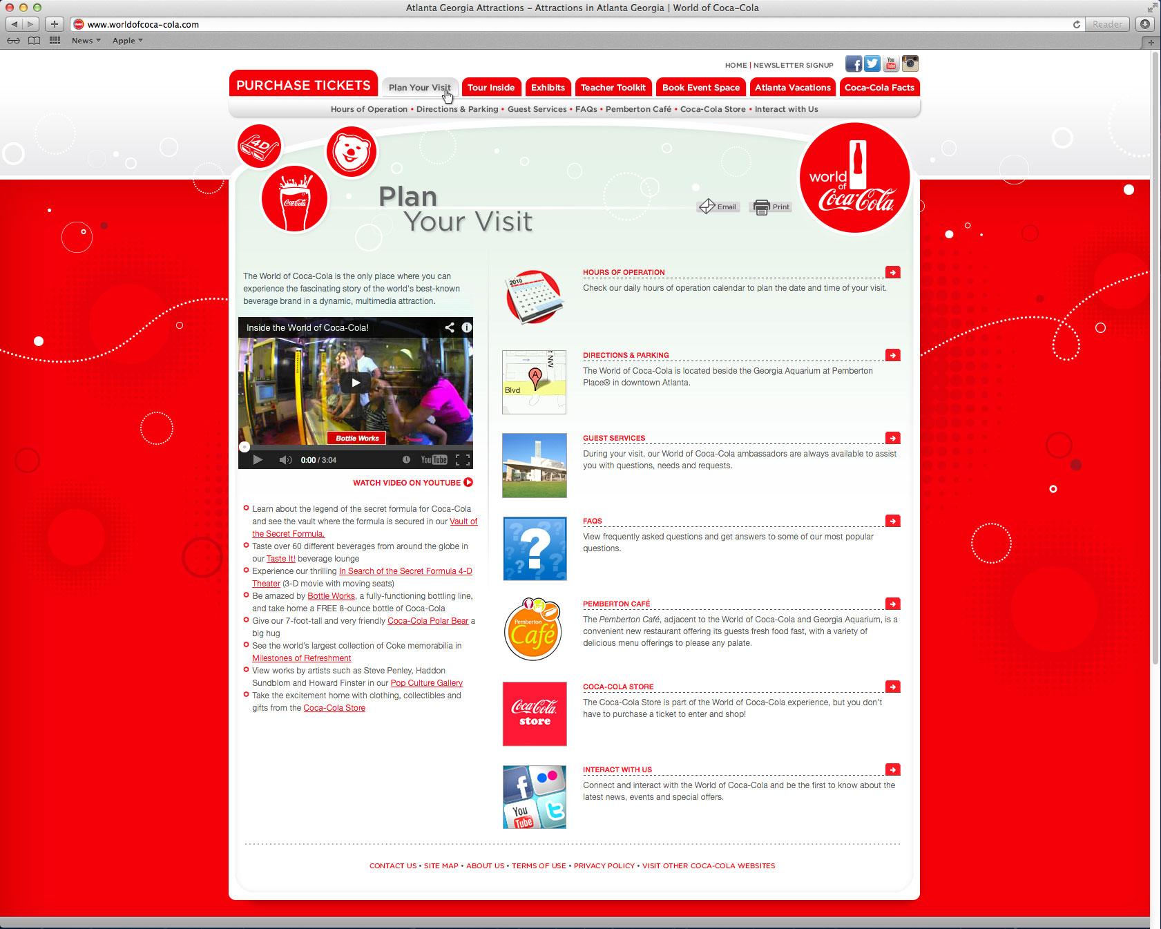 World of Coca-Cola Website - Plan Your Visit