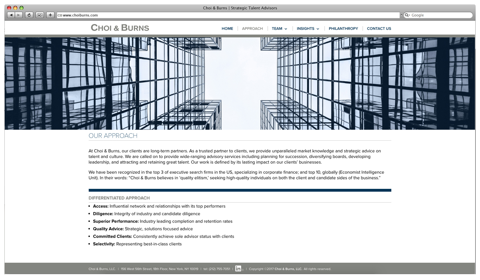 Choi & Burns Website – Approach
