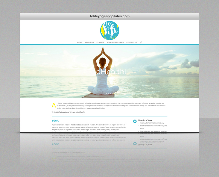 ToLife Yoga & Pilates Website - Browser View