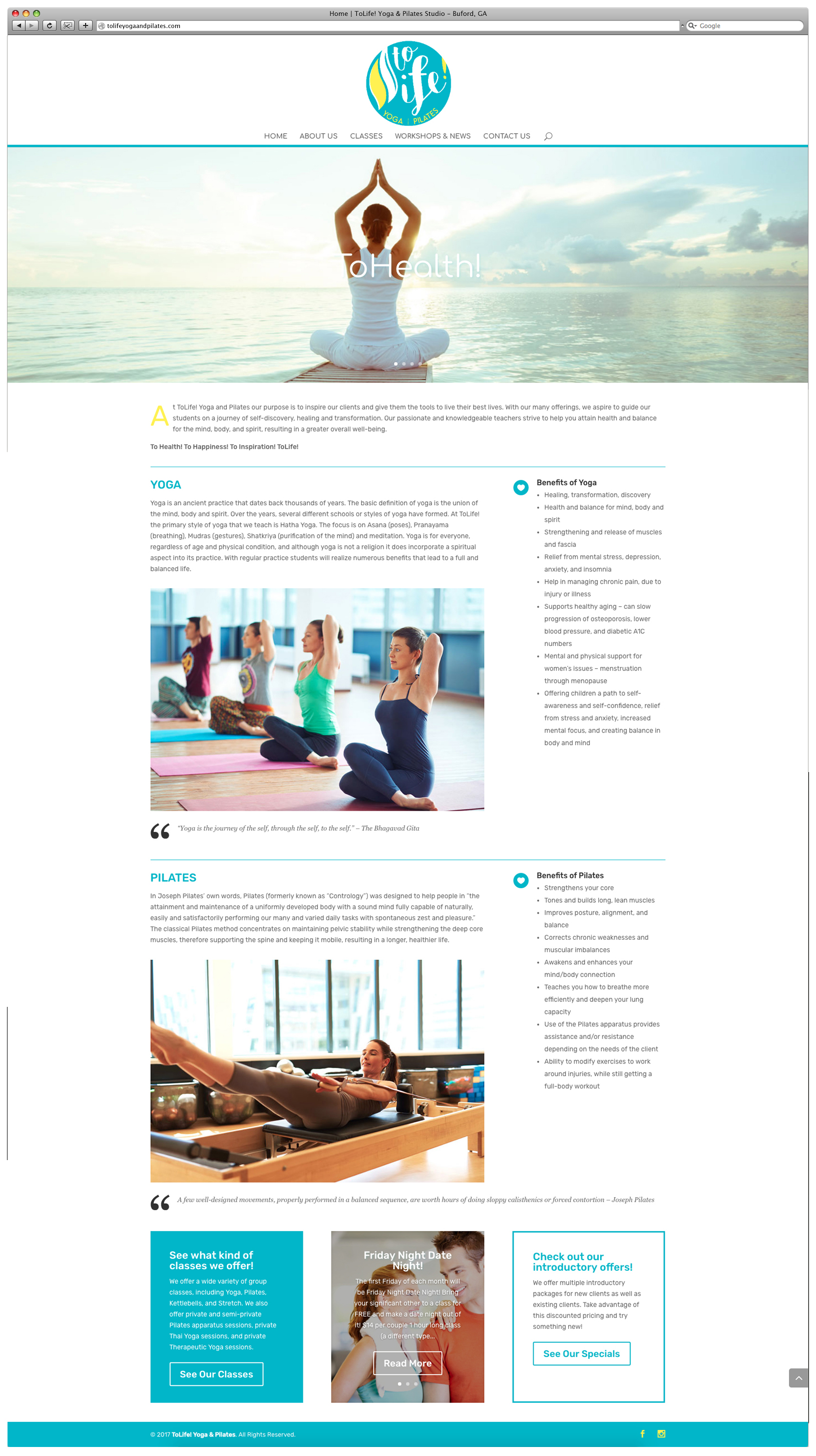 ToLife! Yoga and Pilates Website - Home