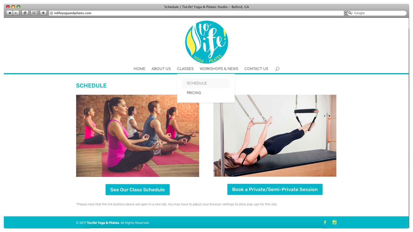 ToLife! Yoga and Pilates Website - Schedule